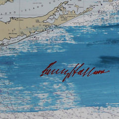 "Kerry Hallam Acrylic on Chart ""Sailing in Long Island Sound"""