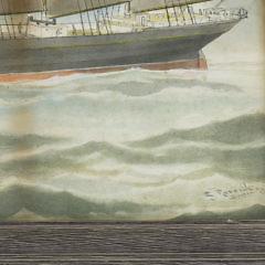 "Edward John Russell Watercolor on Paper ""Portrait of the Steel Schooner Thomas W. Lawson"""