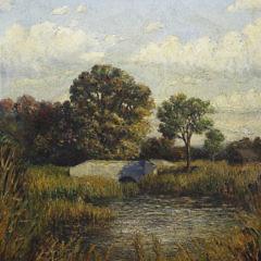 "James Francis Barker Oil on Canvas ""New England River Landscape"""