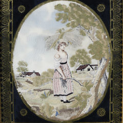 "Pair of English Regency Silk and Silver Thread Embroideries on Silk ""The Wheat Harvest"" circa 1820"