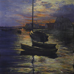 """James Francis Barker Oil on Canvas """"Sunrise at Old North Wharf"""""""