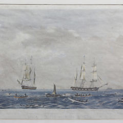 """Benjamin Russell Color Lithograph """"Sperm Whaling with its Varieties"""""""