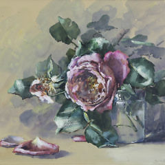 "Anne M. Ramsdell Watercolor on Paper ""Pink Rose in a Glass Vase Still Life"""