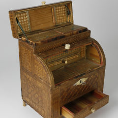 French Prisoner-of-War Straw Work Cylinder Desk, circa 1800