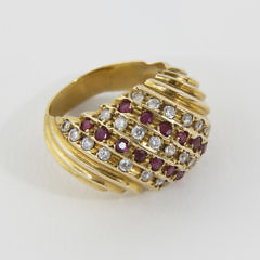 14k Yellow Gold Ruby and Diamond Dome Cocktail Ring