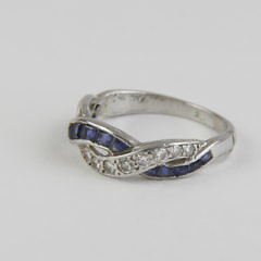 Lady's Diamond and Sapphire Braided Ring