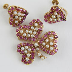 Lady's 14k Yellow Gold Three Piece Ruby and Pearl Brooch/Pendant, Earrings Set