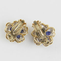 Pair of Blue Sapphire and Diamond Flower Earclips