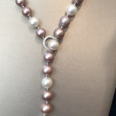 Fine 11mm White and Pink Cultured Pearl Diamond Lariat Necklace